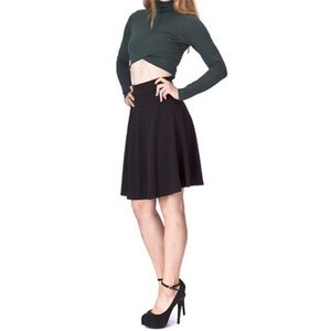 Stretch A-line Flared Knee Length Skirt